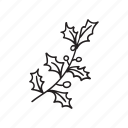 branch, christmas, contour, hand drawn, holiday, new year, souvenir icon