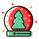 christmas decoration, christmas tree, fir, holiday, merry christmas, snowfall, winter, xmas icon