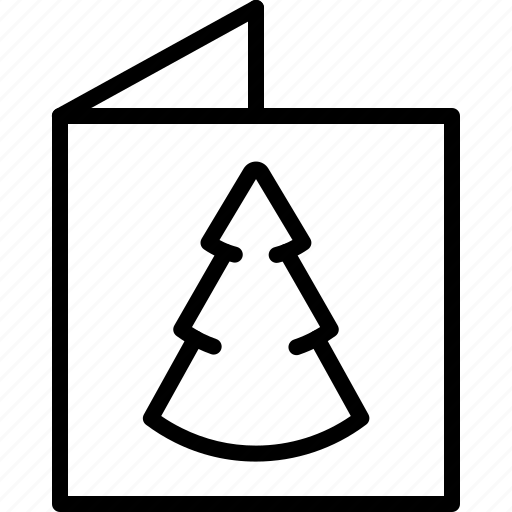 card, christmas, christmas tree, greeting, letter, merry christmas, tree icon