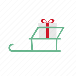 christmas, decoration, gift, holiday, sleigh icon
