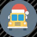 bus, coach, santa cap, travel, vehicle icon