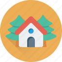 building, home, house, hut, trees icon