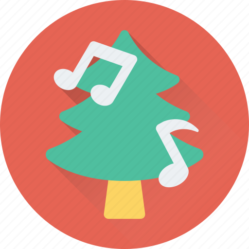 christmas tree, fir, music notes, party, pine tree icon