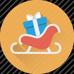 christmas, santa, sled, sledge, sleigh icon