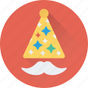 birthday hat, costume, hipster, moustache, party props icon