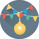 bauble, bauble ball, buntings, christmas, decorations icon