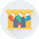 christmas, fireplace, heater, stocking, winter icon