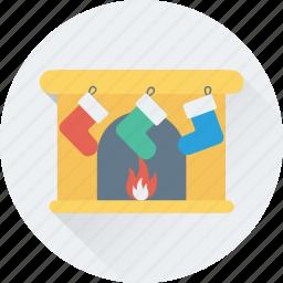 christmas, fireplace, heater, stocking, winter icon