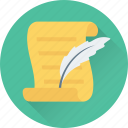 calligraphy, feather, letter, signature, writing icon