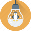 bauble, bulb, christmas, decorations, penguin icon