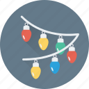 bulbs, christmas lights, decoration, lights, xmas icon
