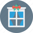 balcony, christmas, decorations, interior, window icon