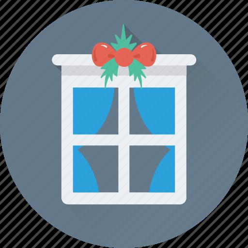 balcony, christmas, decorations, interior, window icon