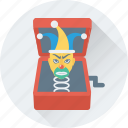 buffoon, clown box, jack in the box, joker, toy icon