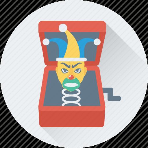 buffoon, clown box, jack in the box, joker, toy icon