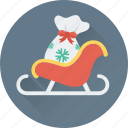 christmas, santa, sled, sledge, sleigh icon