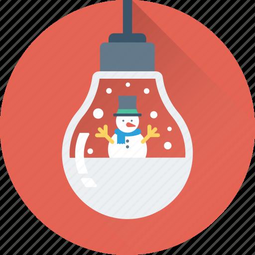 bauble, bulb, christmas, decorations, snowman icon