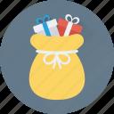 santa sack, gifts sack, pouch, sack, bag icon