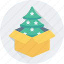 box, christmas tree, fir tree, gift, package