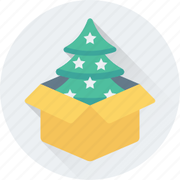 box, christmas tree, fir tree, gift, package icon