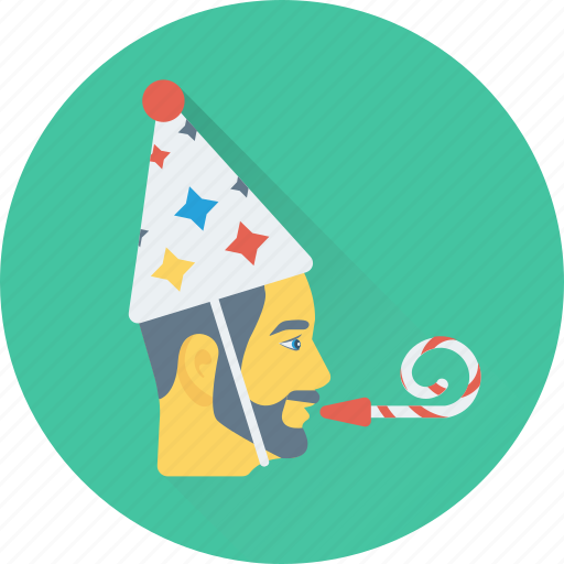 birthday, celebration, party, party cap, party horn icon