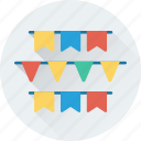 buntings, decoration, party, party flags, pennants