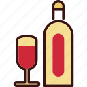 bottle and glass, drink, wine, wine bottle icon