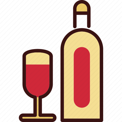 Bottle and glass, drink, wine, wine bottle icon - Download on Iconfinder