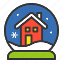 christmas, house, snow globe, winter, xmas icon
