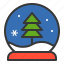 christmas, pine, snow globe, winter, xmas icon
