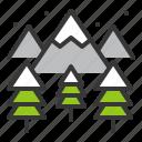 christmas, lanscape, mountain, pine, xmas icon