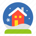 christmas, house, merry, snow globe, winter, xmas icon