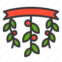 celebration, christmas, decoration, mistletoe, xmas icon