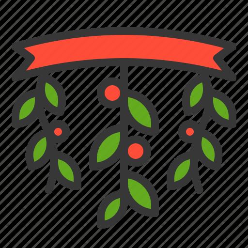 celebration, christmas, decoration, mistletoe, xmas icon