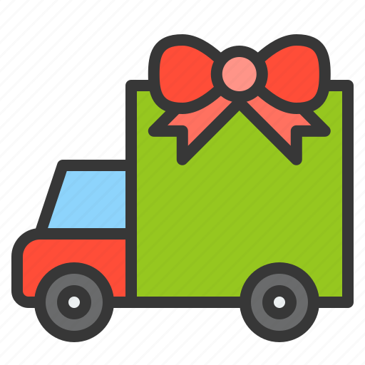 christmas, delivery, gift, truck, xmas icon