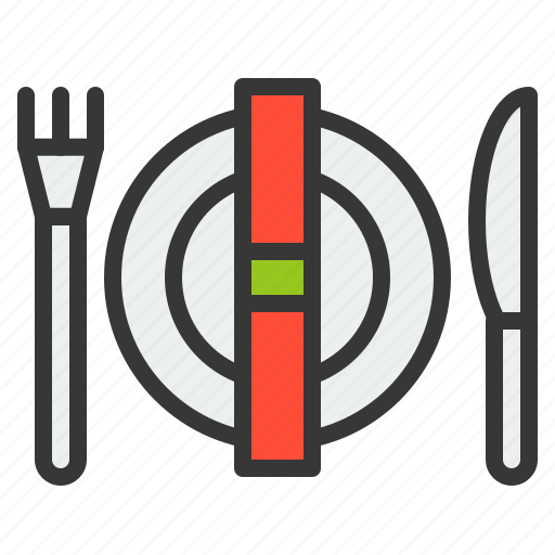 Christmas, dinner, dish, fork, knife, plate, xmas icon - Download on Iconfinder