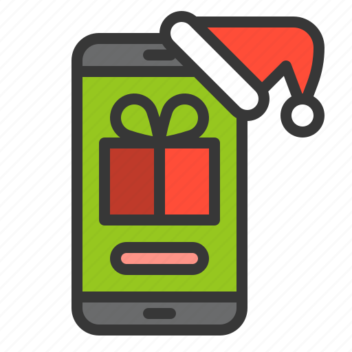 christmas, gift, phone, present, technology, xmas icon