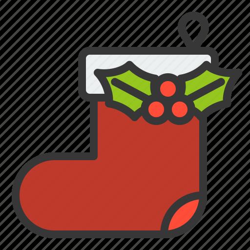 christmas, decoration, fashion, mistletoe, sock, xmas icon
