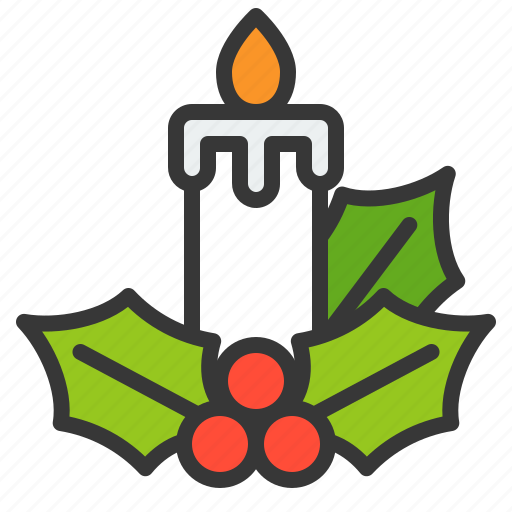 candle, christmas, light, mistletoe, xmas icon