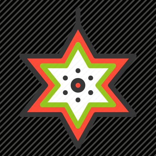 christmas, decoration, hanging star, star, xmas icon
