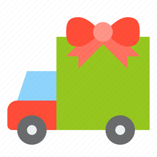christmas, delivery, gift, merry, truck icon