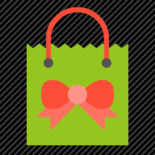 bag, christmas, gift bag, merry, shopping icon