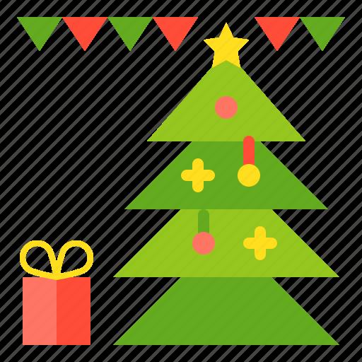 celebration, christmas, gift, merry, party, pine icon