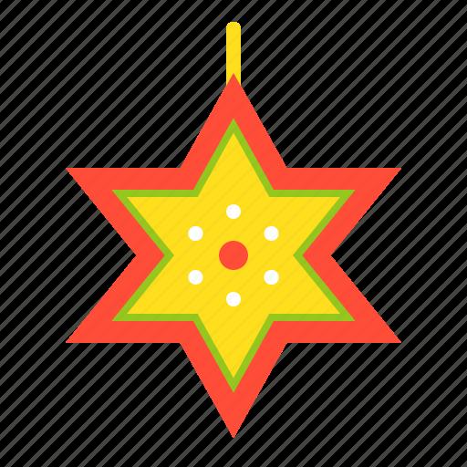 christmas, decoration, hanging star, merry, star, xmas icon