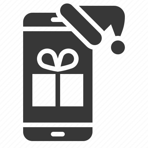 christmas, gift, phone, technology, voucher, xmas icon