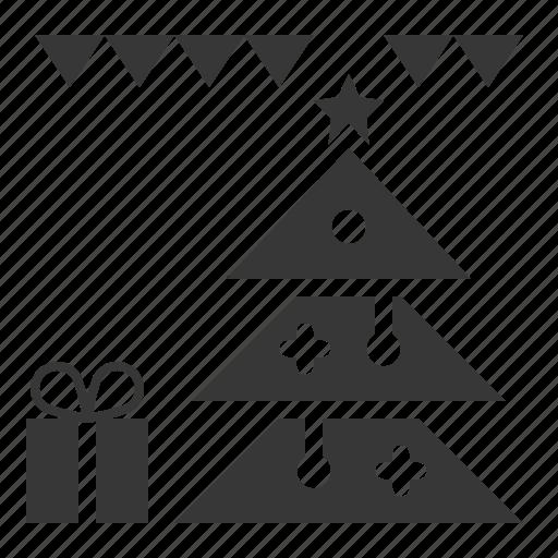 celebration, christmas, gift, party, pine, xmas icon