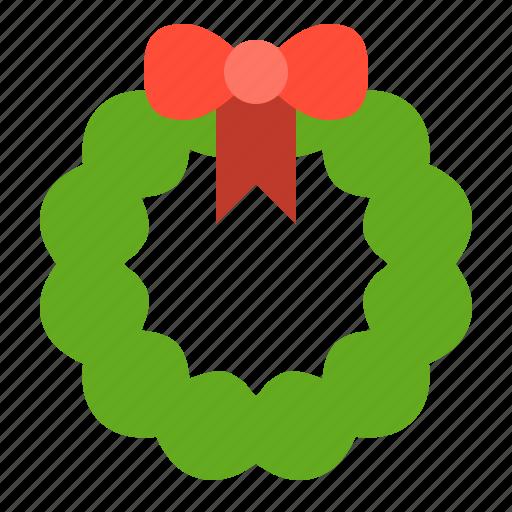 bow, christmas, merry, wreath, xmas icon