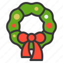 bow, christmas, ornament, wreath, xmas icon