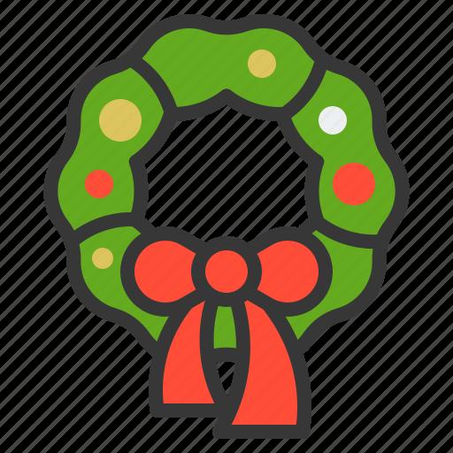 bow, christmas, ornament, wreath, xmas icon