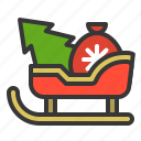 christmas, gift, sled, sledge, sleigh, xmas icon